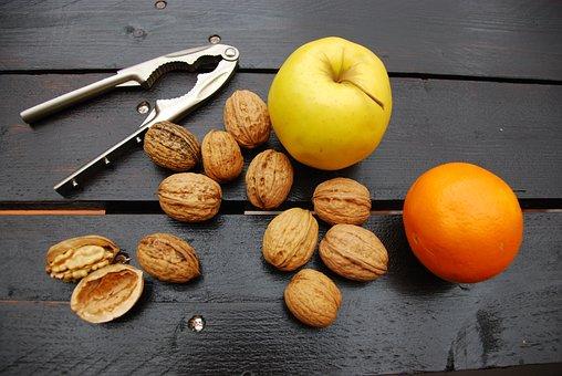 Walnuts, Orange, Apple, Dried Fruit, Wood, Brown, Food