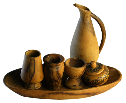 Service, Wood, Shell, Cup, Tableware, Carved, Cover