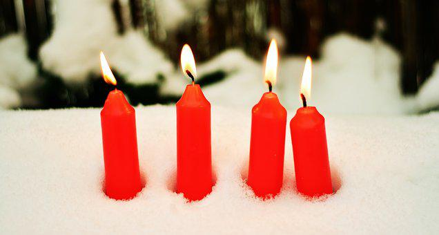 Candles, Red Candles, 4 Candles, 4, Advent, Snow