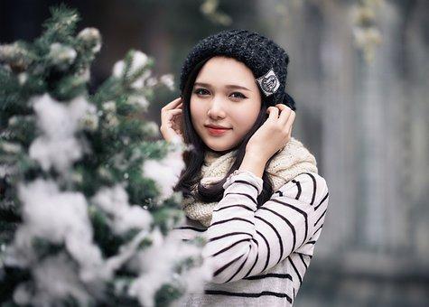 Winter, Girl, The Hat, Snow, Vietnam