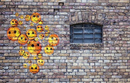 Emoticons, Smiley, Happy, Wall, The Background