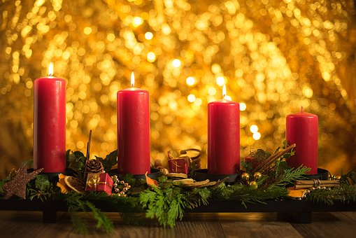 Advent, Third, Christmas, Candles, Candlelight, Shining