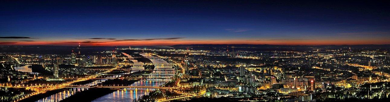 Vienna, Panorama, Night, Evening, Mood, View, Outlook