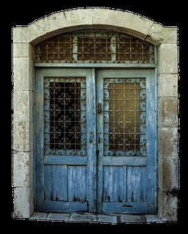 Front Door, Door, Decorated, Blue, Window, Glass