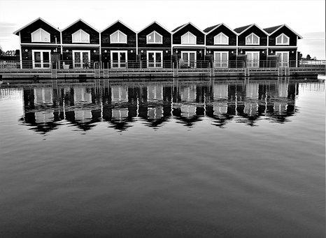 Boathouses, Lake, Water, Reflections, Port, Sunset, Sea