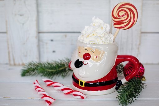 Hot Chocolate, Santa Mug, Peppermints, Candy Canes