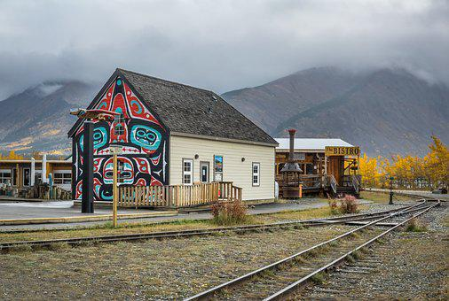 Carcross, Yukon, Canada, Totem, Wall Painting