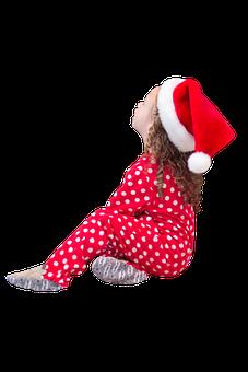 Little Girl, Santa Hat, Christmas, Red Pajamas, Xmas