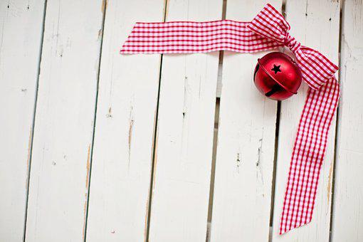Christmas, Red Ribbon, Text Space, White Space, Border