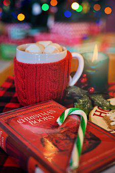Christmas, Book, Cozy, Hot Chocolate, Candle, Reading