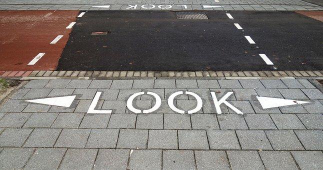 Text, Sidewalk, Crossing, Alert, Warning, Traffic