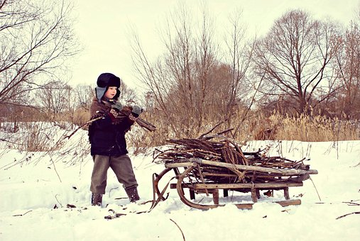 Winter, War, Difficult Time, Sani, Village, Firewood