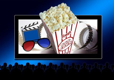 Cinema, Theater, Popcorn, 3d Glasses, Filmklappe, Flap