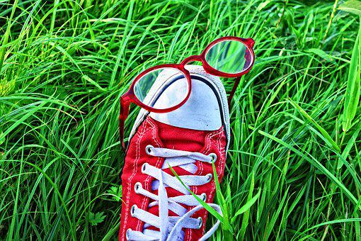 Foot, Shoe, Sneaker, Glasses, Grass, Foot In Grass
