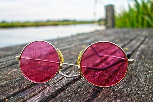 Glasses, Lens, Frame, Pink Glasses, Eye, Vision