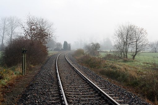 Rails, Gleise, Railroad Tracks, Lonely, Loneliness, Fog