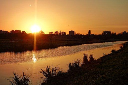 Sunset, Waterway, Reflection, Rural, Glow, Golden
