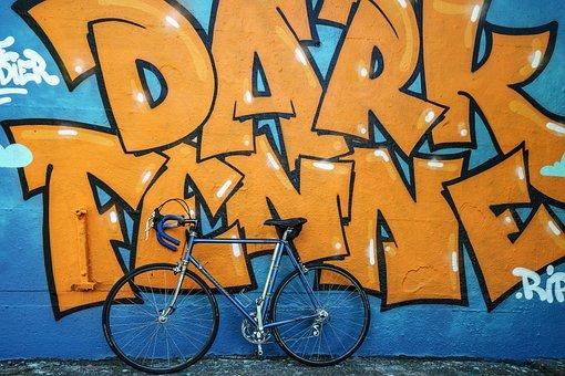 Racing Bike, Grafitti, Wall, Art, Painting, Colorful
