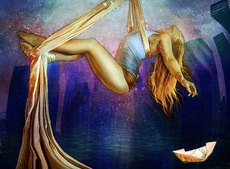 Flight, Girl, Dream, Woman, Beauty, Gravitation, Ease