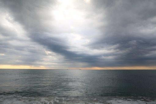 Sea, Cloud, Grey Clouds, Cloudy Sky, Cloudy