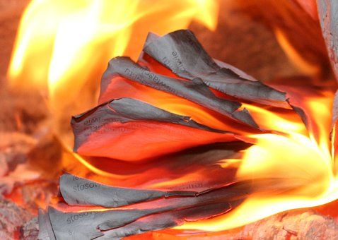 Flames, Fireplace, Hearth, The Burning Of The Newspaper