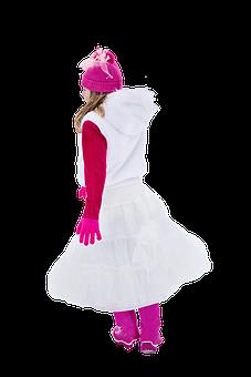 Young Girl, White Dress, Pink, Hot Pink, Walking