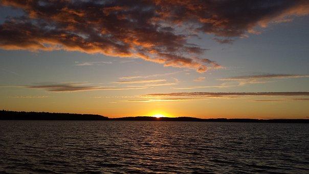 Sun Sunset, Müritz Lake, In The Case Of Goods