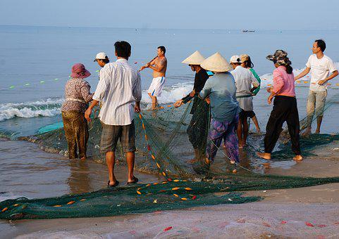 The Fishing Village, Drag-net, The Sea, Life, People