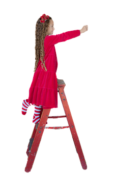 Christmas, Child, Girl, Little Girl, Red Ladder