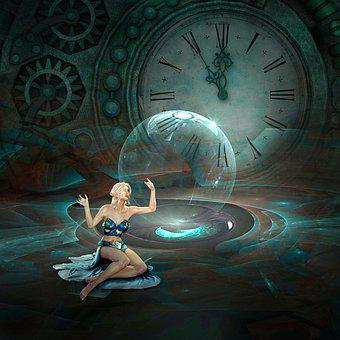 Cd Cover, Clock, Time, Woman, Steampunk, Green, Magic