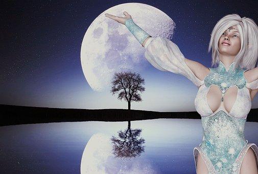 Moon, Surreal, Woman, Fantasy, Artistic, Artfully