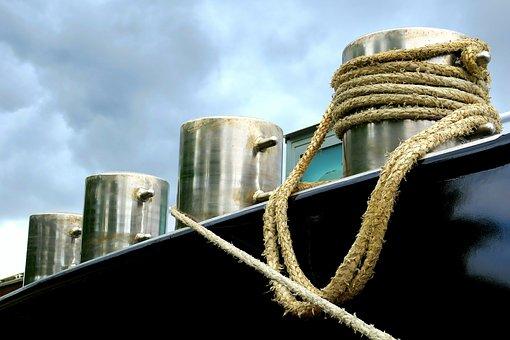 Ship, Barge, Mooring, Maritime, Railing, Dew, Rope