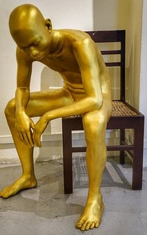 Art, Sculpture, Seated, Male, Man, Naked, Nude, Chair