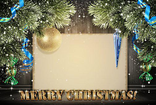 Christmas, New Year, Postcard, Background, Wooden