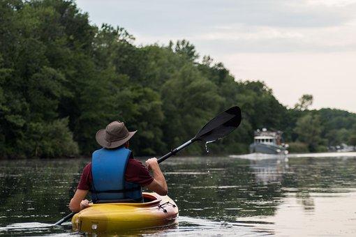 Kayak, River, Water, Boat, Man, Paddling, Kayaking