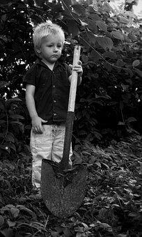 Boy, Childhood, Working, Shovel, Child, Young, Portrait