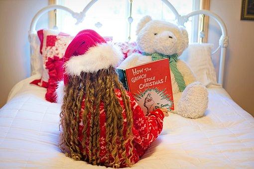Christmas, Reading, Book, Little Girl, Child Reading