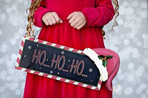 Christmas, Ho Ho Ho, Little Girl, Red, Merry, Holiday