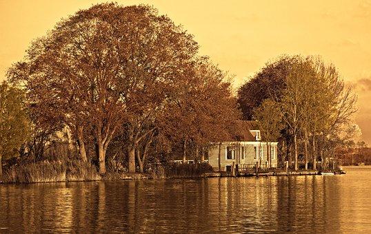 River, Farmhouse, Trees, Riverbank, Dutch Farmhouse