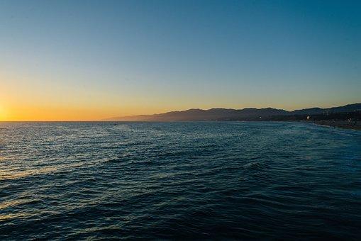 Sunset, Sun, Evening, Ocean, Pacific Ocean, Seashore