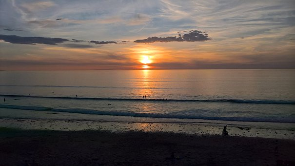 Sunset, Beach, Golden