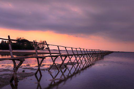 Sunset, The Sun, Wooden Bridge, Pier, The Sea