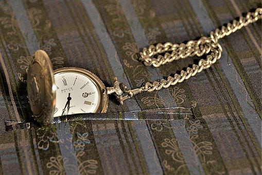 Pocket Watch, Jump Deckeluhr, Chain, Close, Timepiece