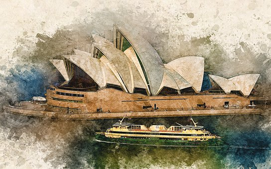Sydney, The Opera House, Watercolor