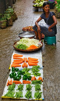 Street, Trader, Lady, Woman, Selling, Vegetables