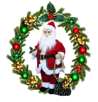 Christmas, Wreath, Santa