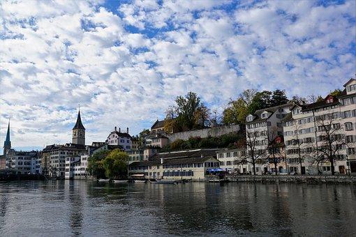 Zurich, City, Switzerland, Houses, Churches, River