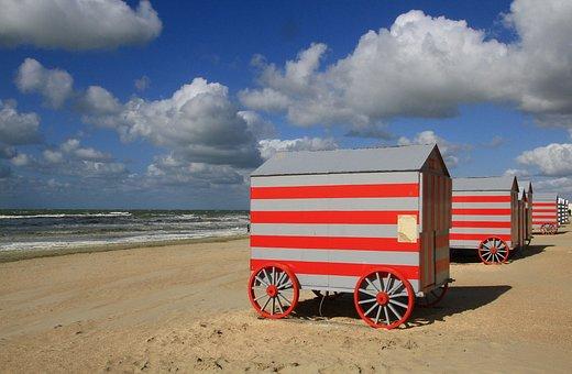 Cabin, Beach, Holiday, Small House, Summer, Bath, Ocean