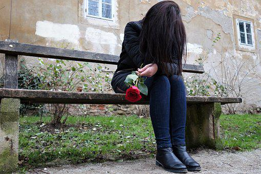 Sad Girl, Red Rose, Lonely, Depressive, Bench, Sitting