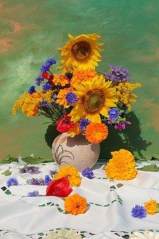 Flower Vase, Bouquet, Sunflower, Still Life, Tablecloth